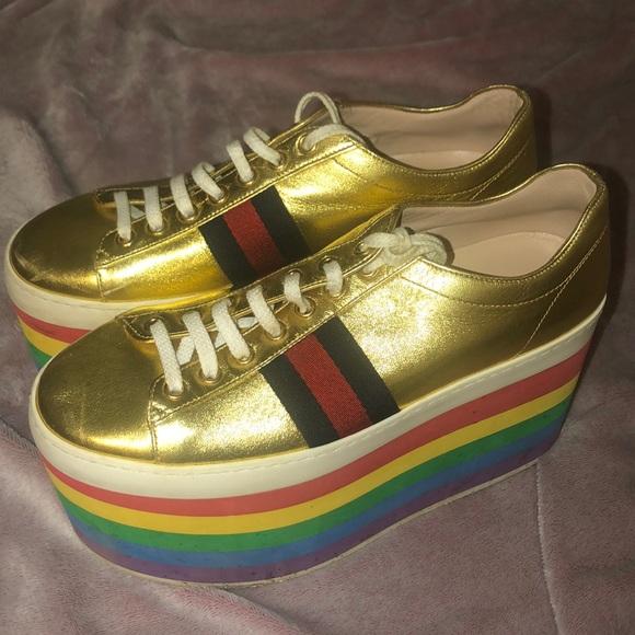Gucci Metallic Gold Rainbow Platform